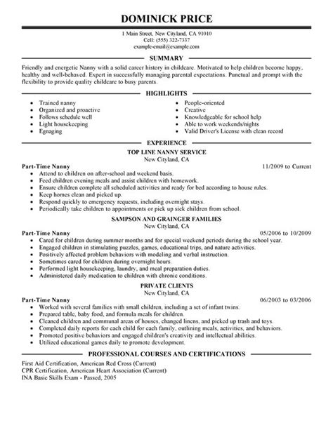 nanny resume objective nanny resume objective best resume exle