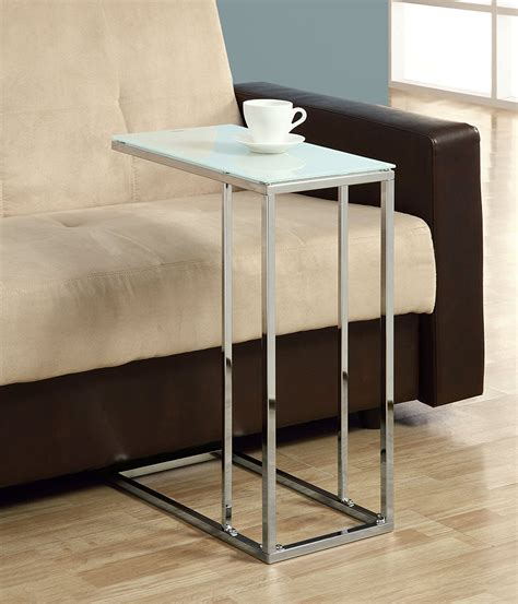 Side Table For Sectional Sofa New Living Room Coffee End Table Slide Side Metal Glass Top Chrome Ebay