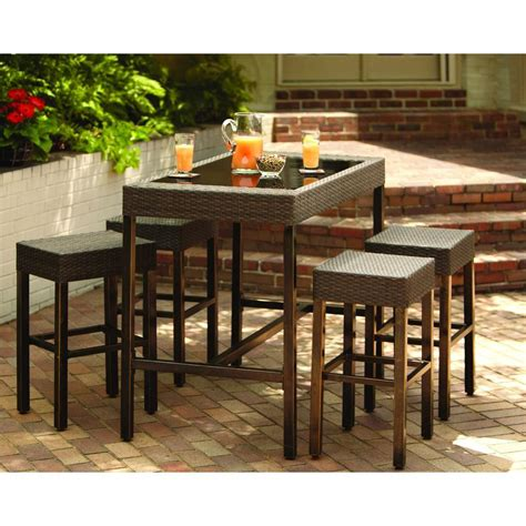 Patio Bar Table Set Hton Bay Tacana 5 Patio High Bar Dining Set S0406014 S0105015 The Home Depot