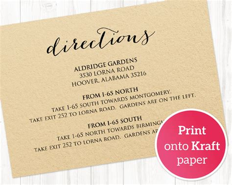 direction cards template free wedding directions card 183 wedding templates and printables