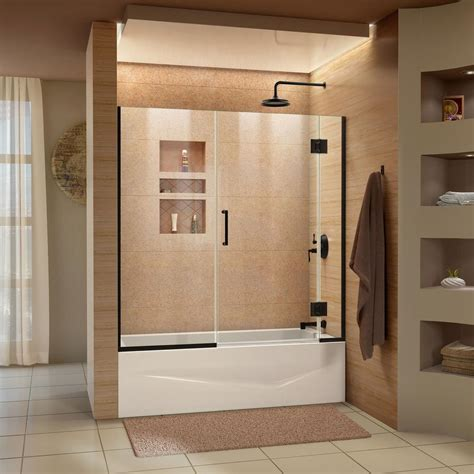 frameless shower door for bathtub dreamline unidoor x 58 in w x 58 in h frameless hinged