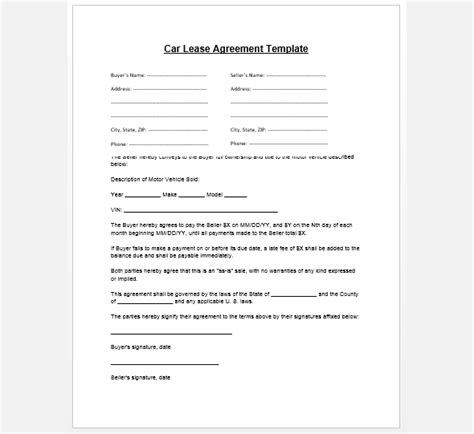 Agreement Letter Sle For Car Rental Sle Car Lease Agreement Template Images