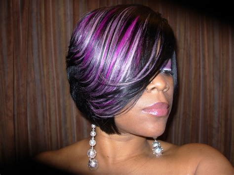 black women feathered bob weave raymona hairstyles with wigs purple feathered haircut