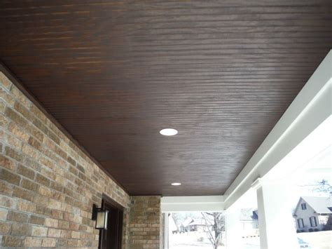Outdoor Wood Ceiling Panels by 4x8 Fir Beaded Panel Stained Porch Ceilings In 2018
