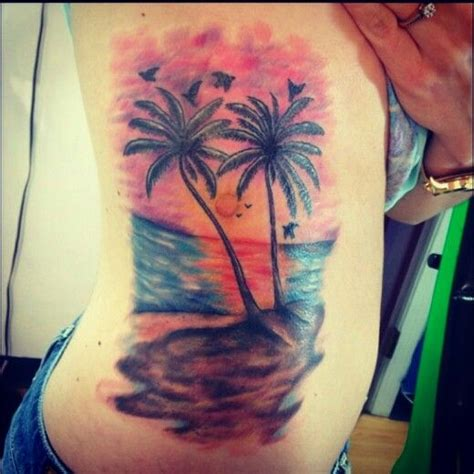 beach scene tattoo designs my new palm tree rib the best there is out there