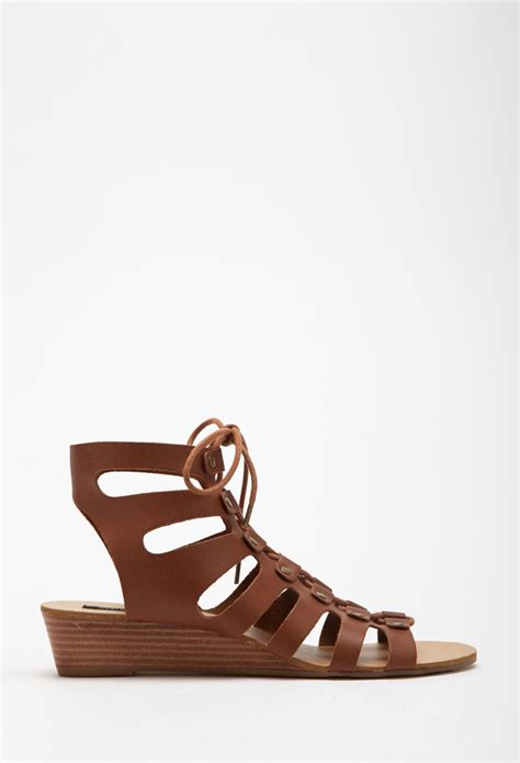forever 21 lace up wedge gladiator sandals in brown lyst