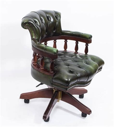 Handmade Leather Chairs - handmade leather captains desk chair green for