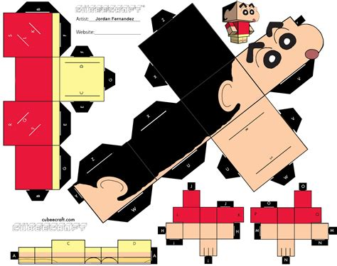 paper craft template shin chan cubee template by jordof131 on deviantart