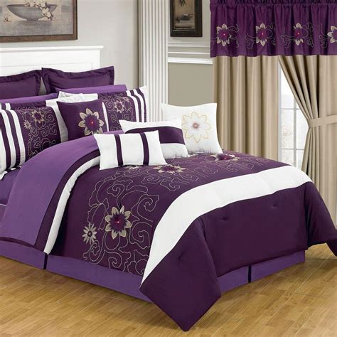 purple bedroom sets lavish home amanda purple 24 piece queen comforter set 66