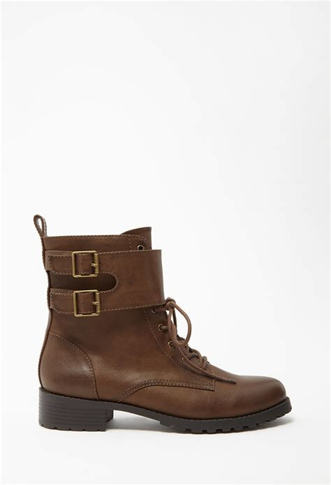forever 21 shoes boots forever 21 buckled faux leather boots in brown lyst