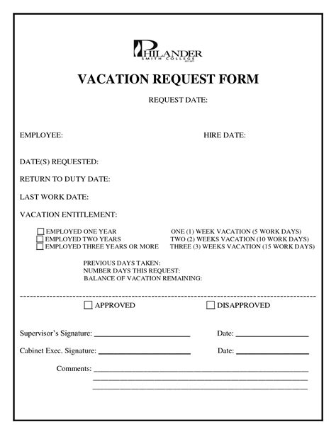 search results for vacation request form template word