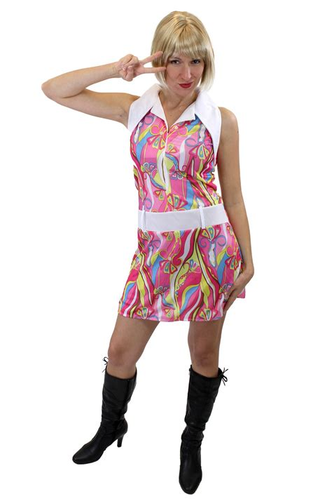 swinging 60s costume groovy sexy dress costume ladies swinging sixties paisley