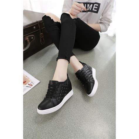 sepatu sneakers wedges zr35 hitam sepatu sneaker wedges