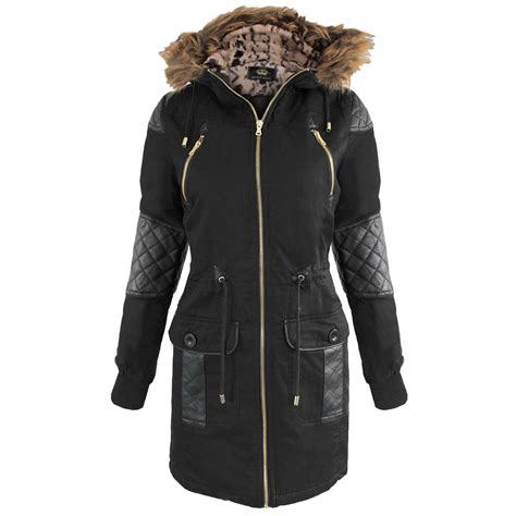 black coat with fur womens jackets in my home