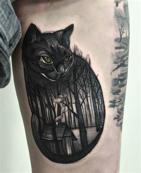 cat tattoo lookup black cat tattoo google search cat pinterest