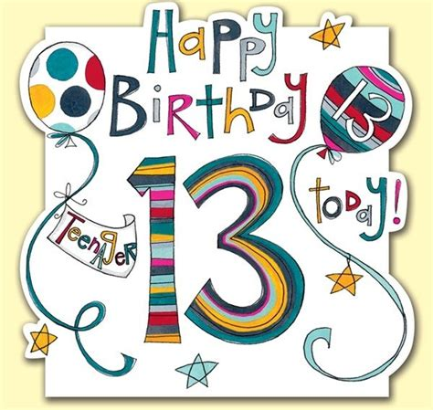 Birthday Cards For 13 Year Boy 13 Today Teenager Birthday Card Karenza Paperie