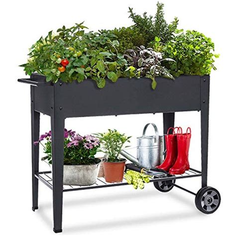 elevated raised planter box  wheels  home gift