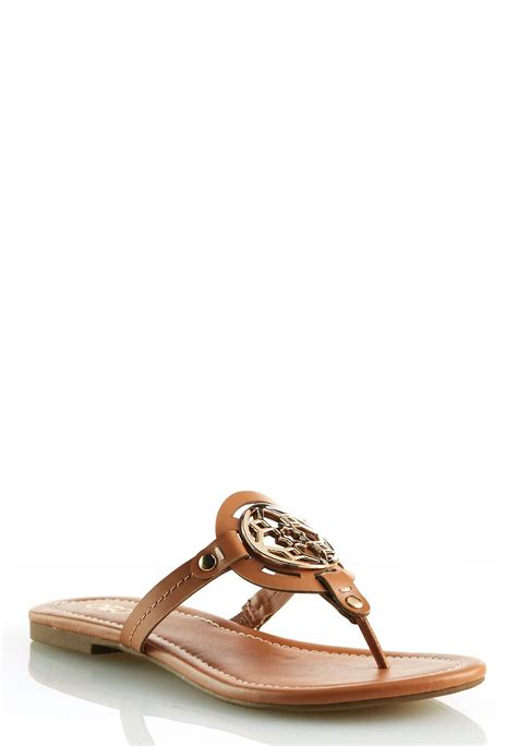 flat shoes with gold medallion medallion sandals flats cato fashions