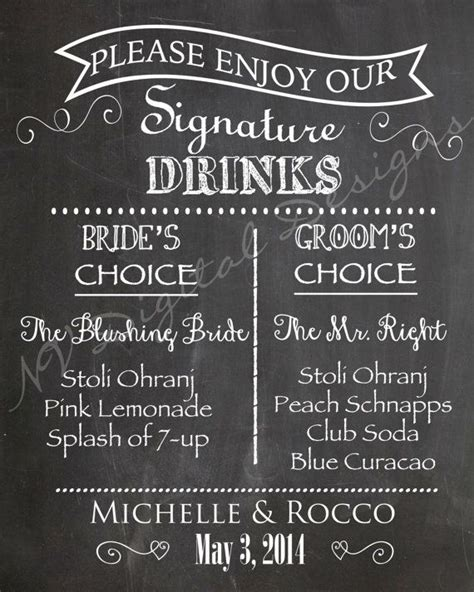 best 25 signature drink signs ideas on pinterest drink