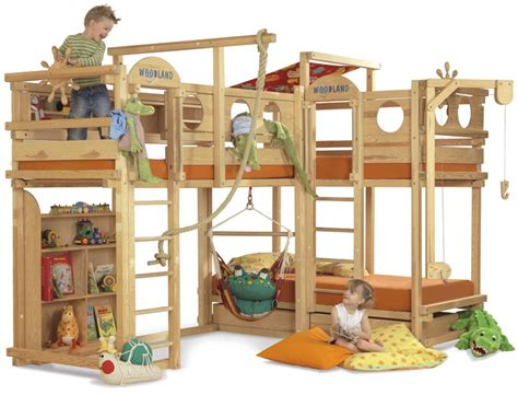 kid bunk bed play bunk beds for large families from woodland kidsomania
