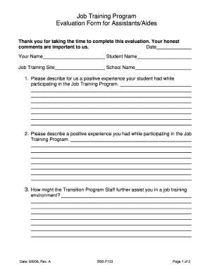 fillable online job training program evaluation form for