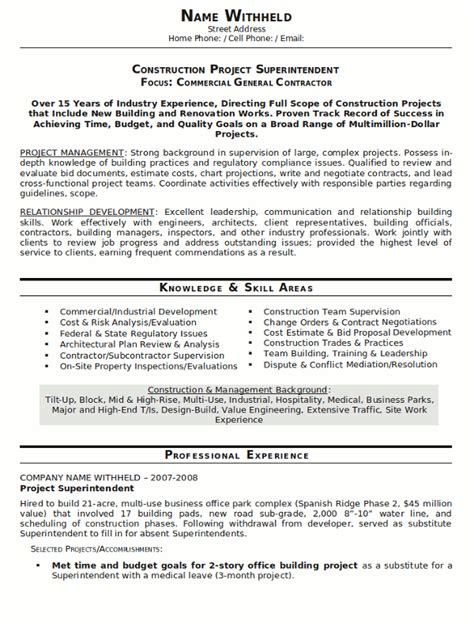 Resume Template For Construction by Resume Sle 20 Construction Superintendent Resume