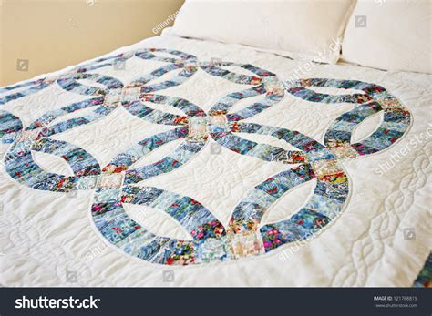 Wedding Ring Patchwork Quilt - traditional patchwork quilt wedding ring quilt stock