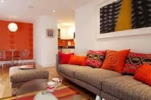 minimalist and orange living space design concepts