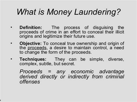 Mba Definition Of Delinquency by Money Laundering Presentation