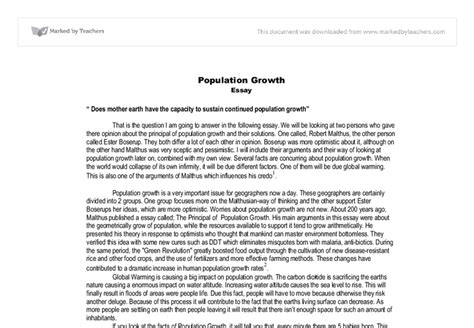 Essay About The World by Population Essay Does Earth The Capacity To Sustain Continued Population Growth