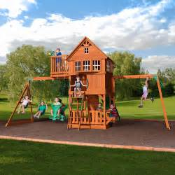 Backyard Discovery Sky Fort 2 Backyard Discovery Skyfort Ii All Cedar Swing Set