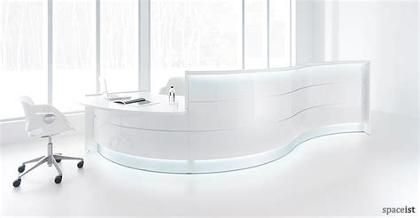 White Curved Reception Desk New Valde White Curved Reception Desk Spaceist
