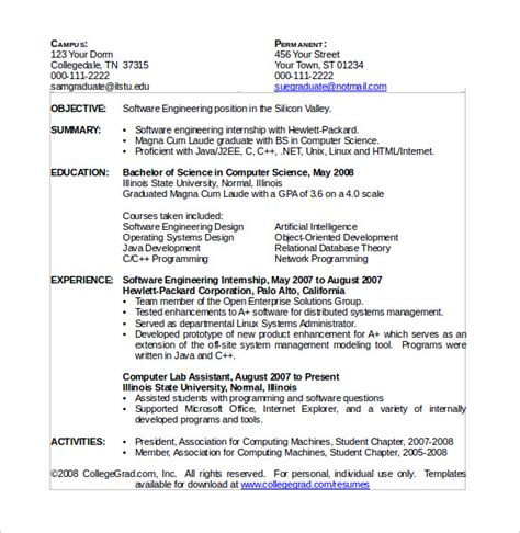 computer science resume template sample science resume example