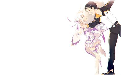 subaru and emilia wallpaper wallpaper re zero emilia x natsuki subaru smiling
