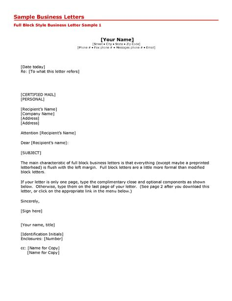Business Letter Template Us business letter email template letter template 2017