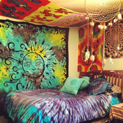 dress hippie tapestry tumblr bedroom bedding tie dye