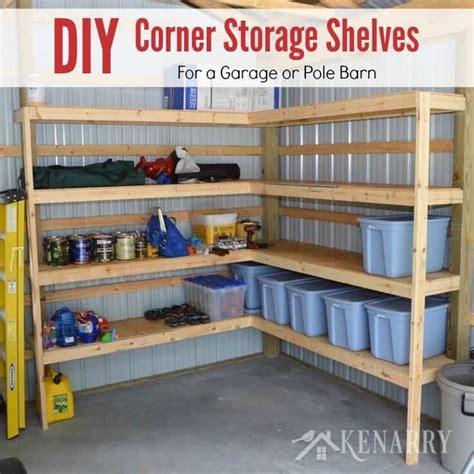 diy storage shelves diy corner shelves for garage or pole barn storage