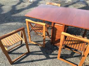 Gateleg table with four storeable chairs attainable vintage