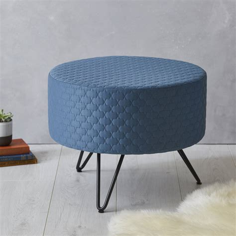 footstool metal legs blue mid century footstool with metal legs by fern