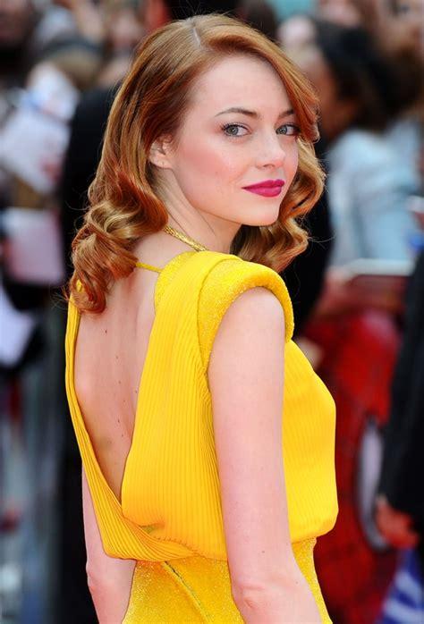 emma stones yellow dress  la la land popsugar fashion