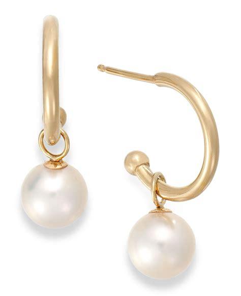 macy s cultured freshwater pearl hoop earrings in 14k gold
