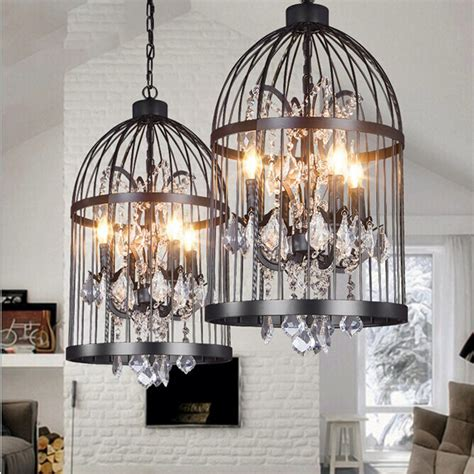 Vintage Birdcage Crystal Chandelier Lighting Black Rustic Birdcage Pendant Light Chandelier