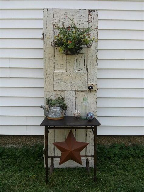 old door potting bench old door and old table potting bench outdoors