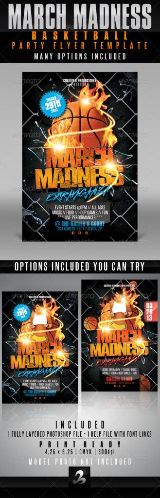 March Madness Basketball Party Flyer Template Print Ad Templates Madness Flyer Template