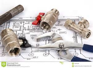 blueprint and plumbing supplies royalty free stock photos