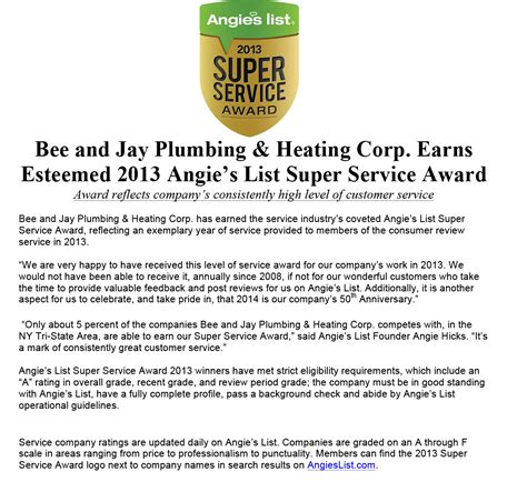 Angies List Plumbing by We Received Angie S List 2013 Service Award Bee