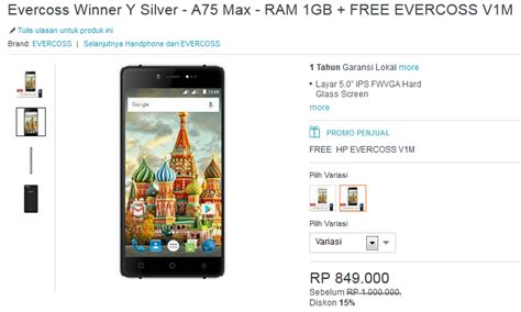 Lcd Evercoss A75 hp android 5 inch 800 ribuan evercoss winner y silver