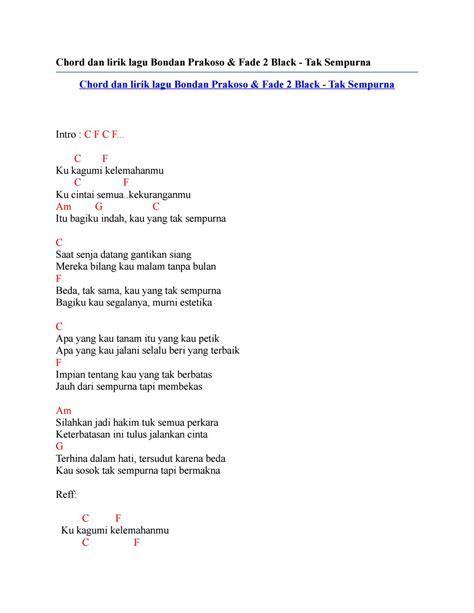 chord dan lirik lagu bondan prakoso fade 2 black tak