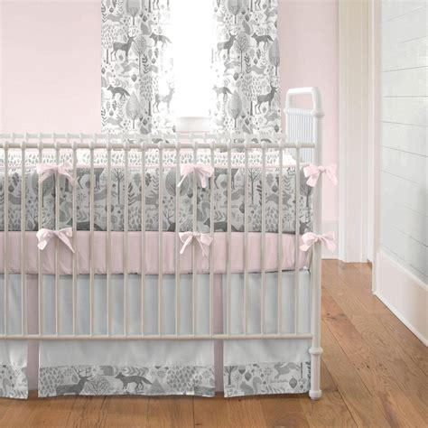 Pink And Gray Woodland Crib Bedding Carousel Designs Crib Bedding Pink And Grey