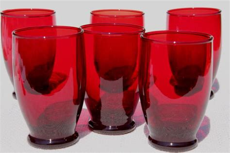 vintage royal ruby red glass tumblers  anchor hocking drinking glasses set